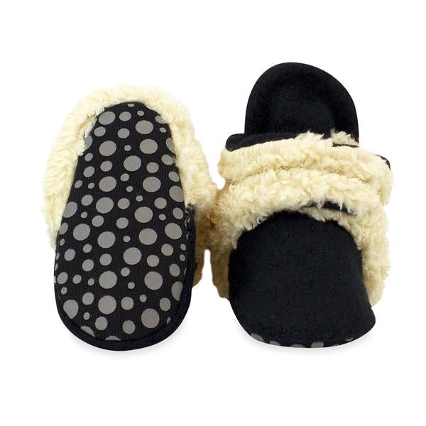 Zutano Cozie Fleece Gripper Booties Furry Black