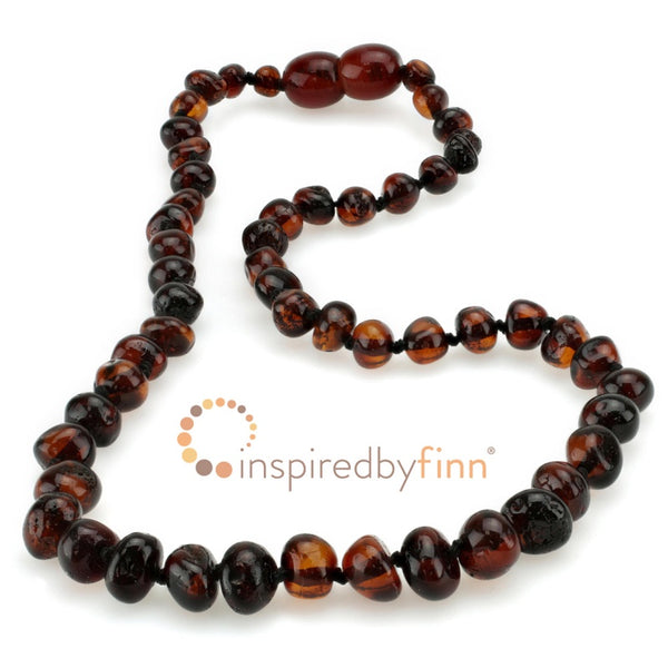 Inspired by Finn Baltic Amber Necklace Dark Cherry