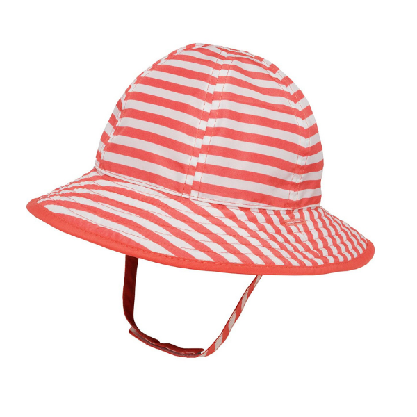 Sunday Afternoons Infant Bucket Hat Coral Stripe