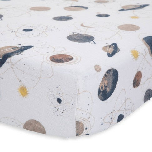 Little Unicorn Muslin Crib Sheet Planetary