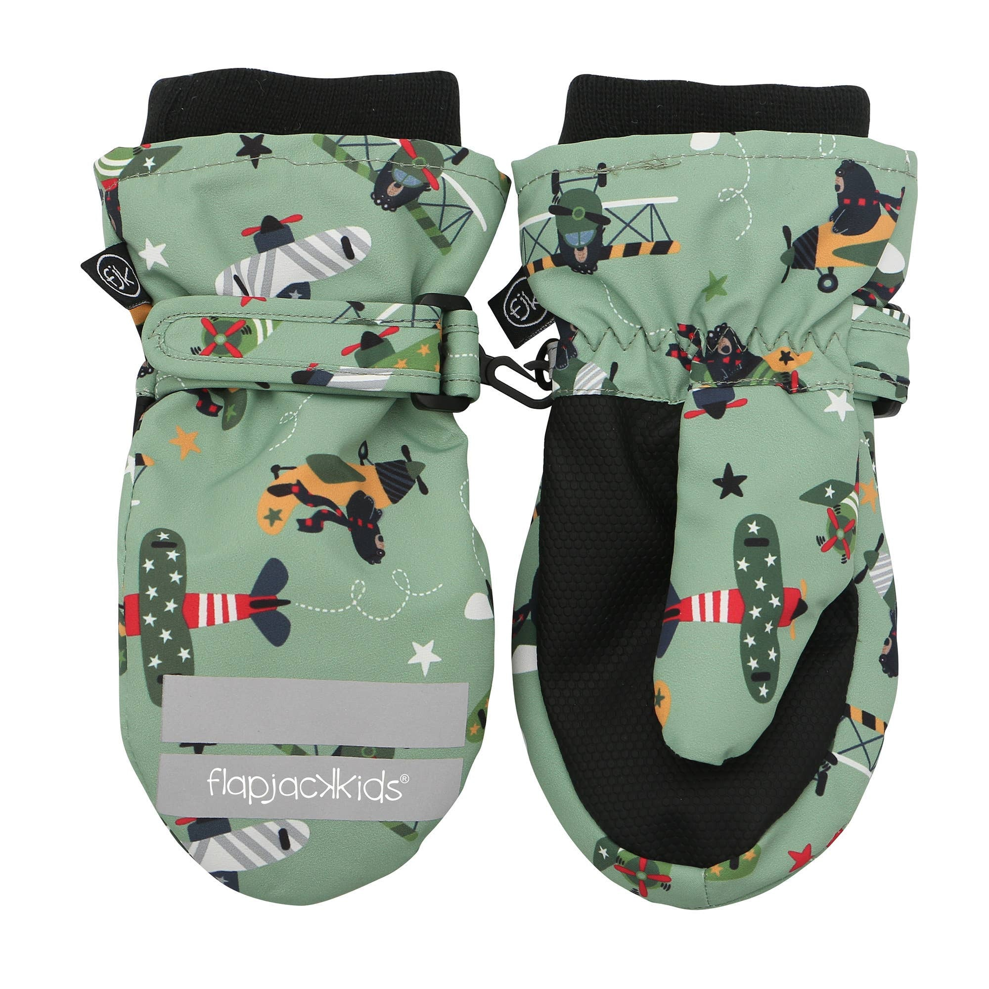 Flapjack Kids Ski Mittens - Green Black Bear