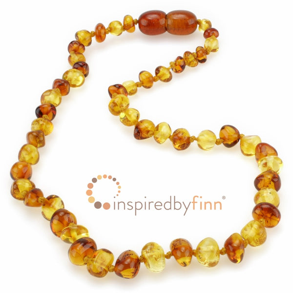Inspired by Finn Baltic Amber Necklace Polished Yellow and Honey