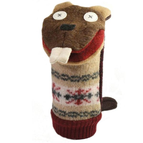 Cate and Levi Wool Beaver Puppet