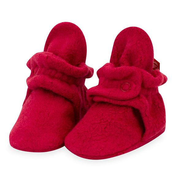 Zutano Cozie Fleece Booties Cranberry