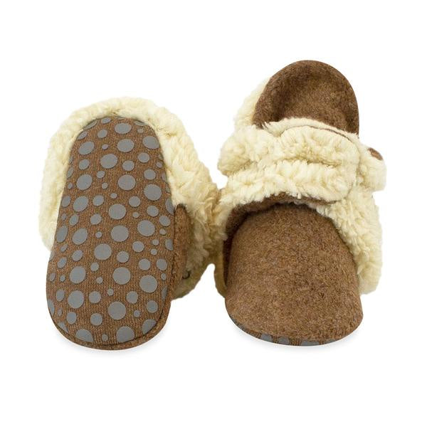 Zutano Cozie Fleece Gripper Booties Furry Mocha Heather