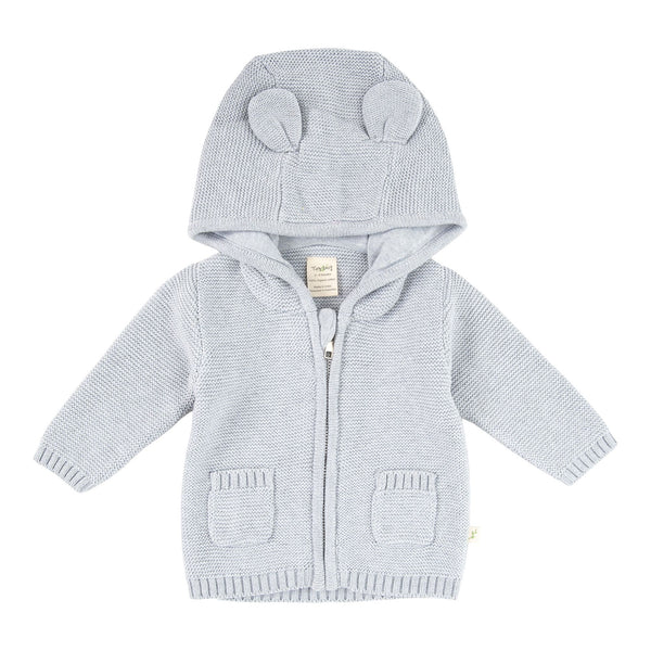 Tiny Twig Knitted Hoodie Grey Marle