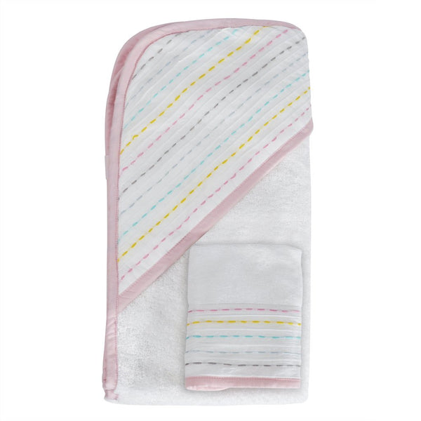 Hello Spud Organic Towel and Washcloth Set Diagonal Pintuck Rainbow