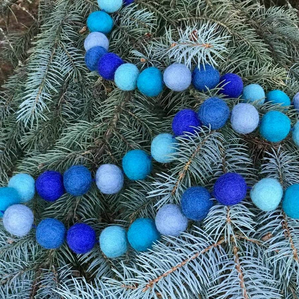 The Winding Road Blue Felt Ball Garland