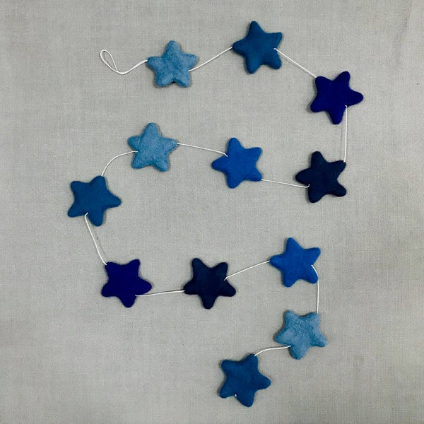 The Winding Road Blue Felt Star Garland