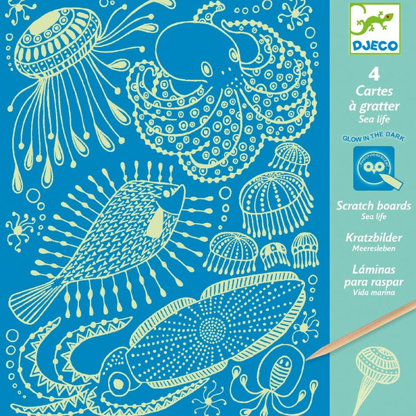 Djeco Scratch Board- Sealife (Glow in The Dark)