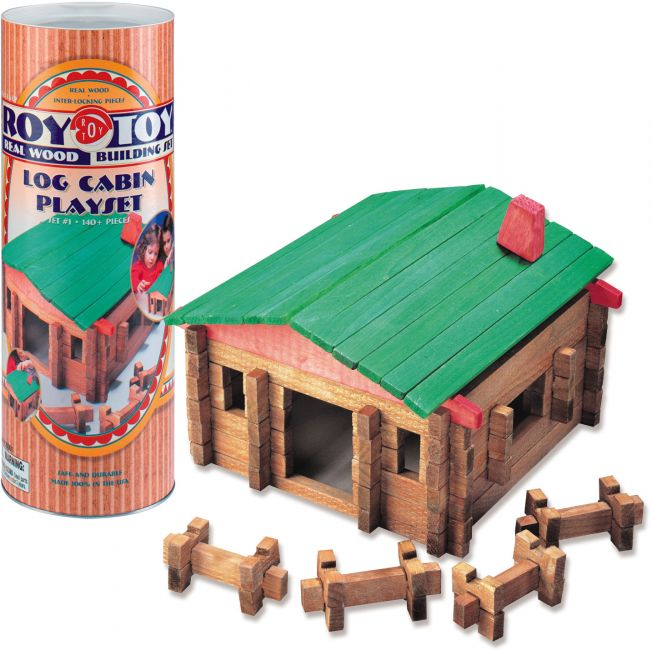 Roy Toy Log Cabin Playset 140 Piece