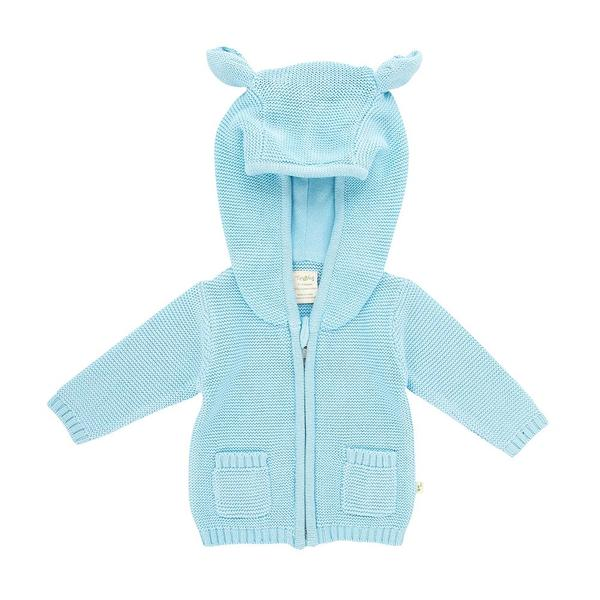 Tiny Twig Knitted Hoodie Baby Blue
