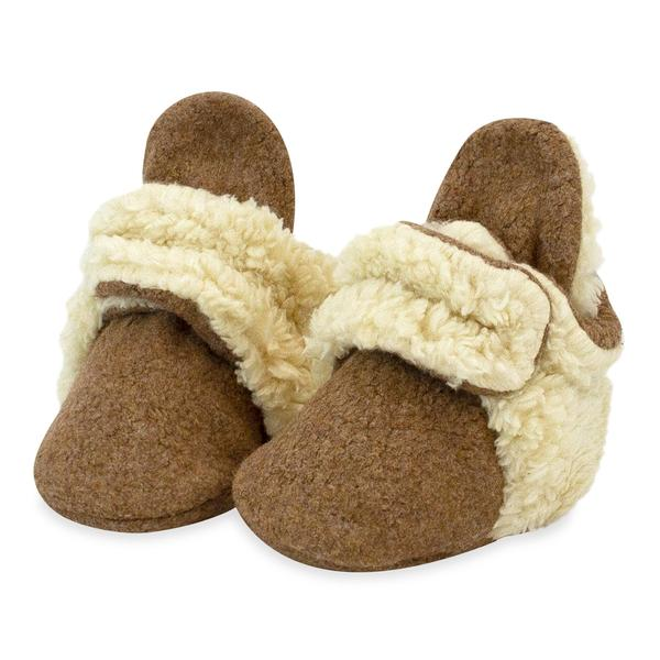 Zutano Cozie Fleece Booties Furry Mocha Heather