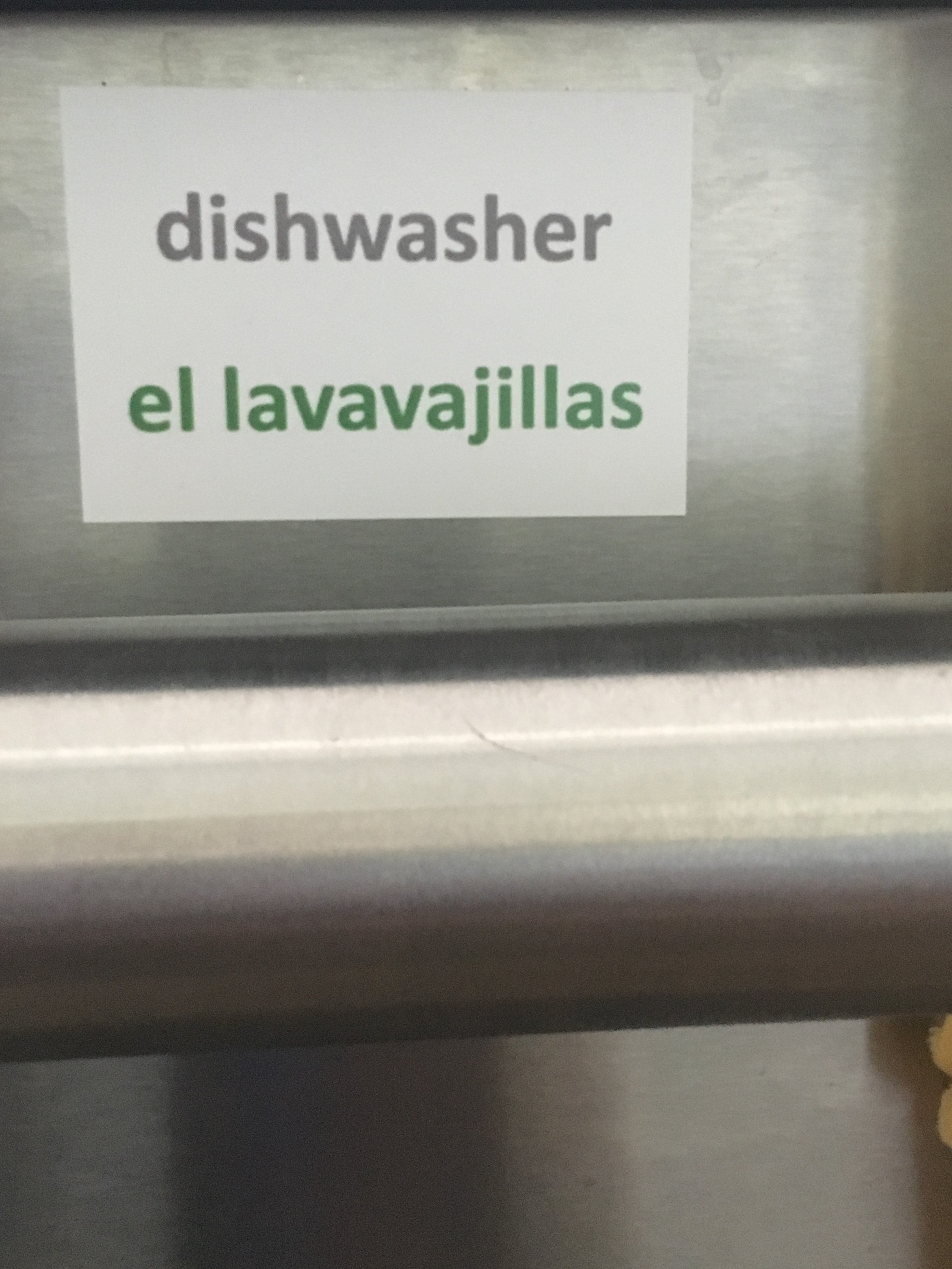 Household labels for the kitchen in Spanish-English or Mandarin Chinese-English. Reusable and won't leave a residue