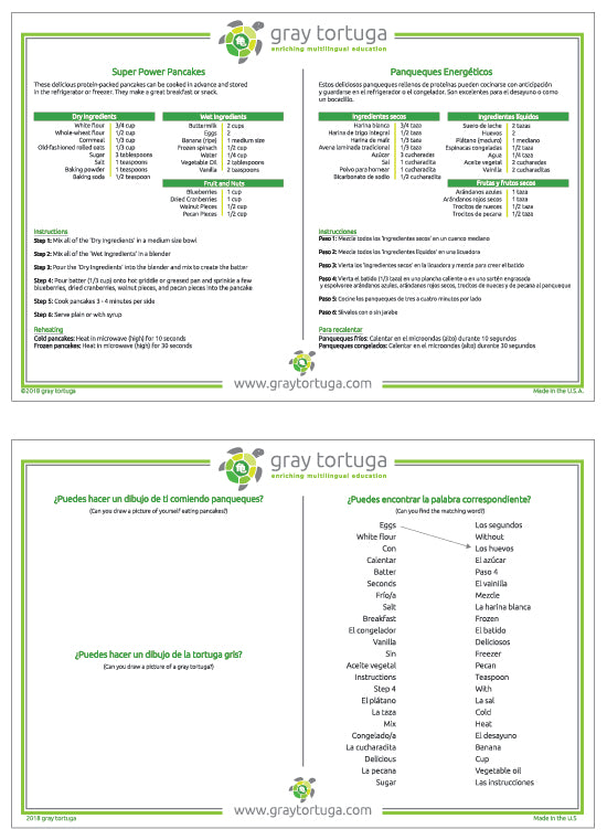 Activity placemat – Recipe for super power pancakes in Spanish and English