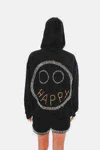 HAPPY FACED HOODIE GENDERLESS / HANDCRAFTED BY HUMAN