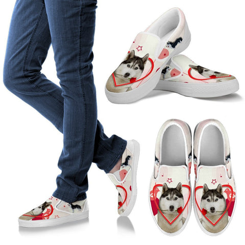 Valentine's Day Special Siberian Husky Print Slip Ons For Women- Free Shipping