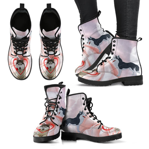 Valentine's Day Special Siberian Husky Print Boots For Women-Free Shipping