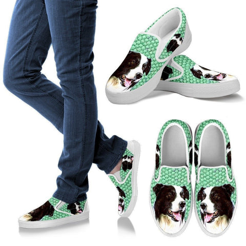 Border Collie Print Slip Ons For Women-Express Shipping