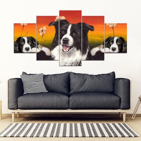 Border Collie Print-5 Piece Framed Canvas- Free Shipping