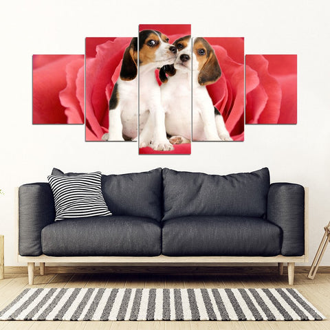 Cute Beagle On Red Rose Print- Piece Framed Canvas- Free Shipping