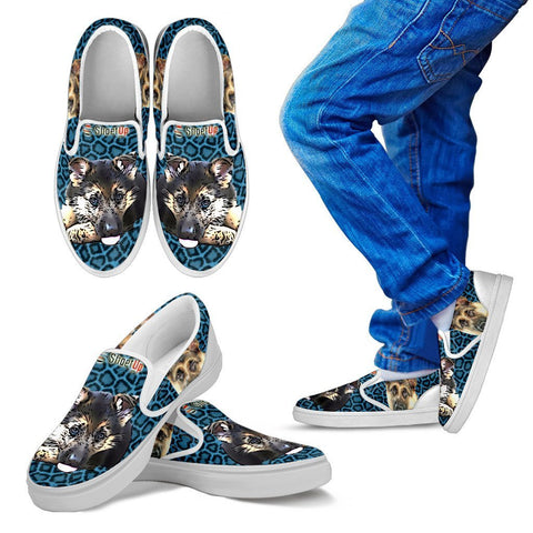 Cartoonize German Shepherd Print-Kid's Slip Ons-Free Shipping