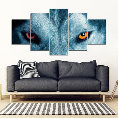 Siberian Husky Eyes Print- 5 Piece Framed Canvas- Free Shipping