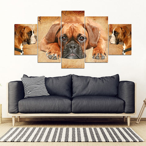 Boxer Dog Print- Piece Framed Canvas- Free Shipping