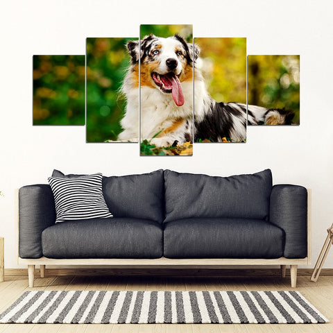 Australian Shepherd Dog Print New 5 Piece Framed Canvas- Free Shipping