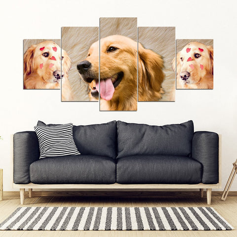 Golden Retriever Print- Piece Framed Canvas- Free Shipping