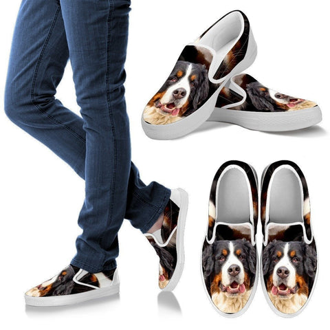 Bernese Mountain Print Slip Ons For Women- Express Shipping