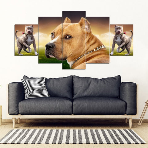 American Staffordshire Terrier With Rose Print- Piece Framed Canvas- Free Shipping