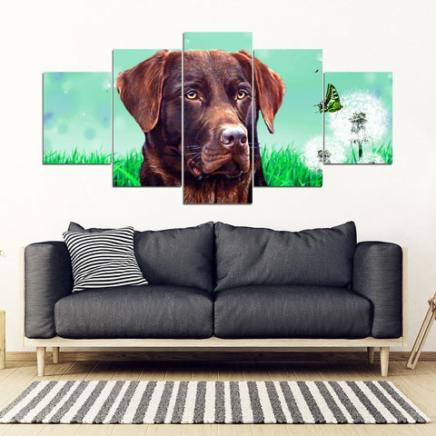 Chocolate Labrador Print 5 Piece Framed Canvas- Free Shipping