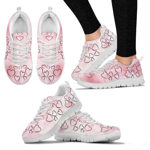 Valentine's Day Special Heart On Pink Print Running Shoes For Women- Free Shipping