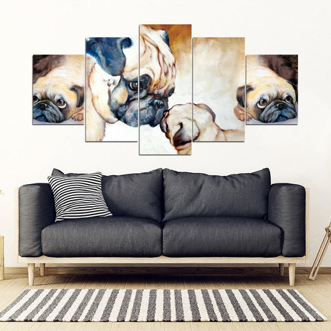 Pug Dog Mother With Puppy Print- 5 Piece Framed Canvas- Free Shipping