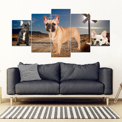 French Bulldog Print- Piece Framed Canvas- Free Shipping