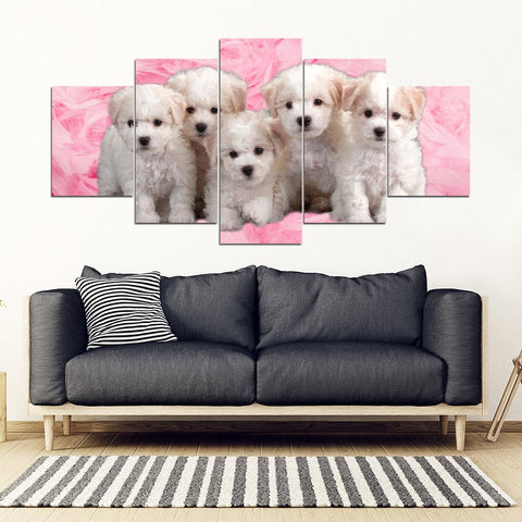 Cute Bichon Frise Print Piece Framed Canvas- Free Shipping