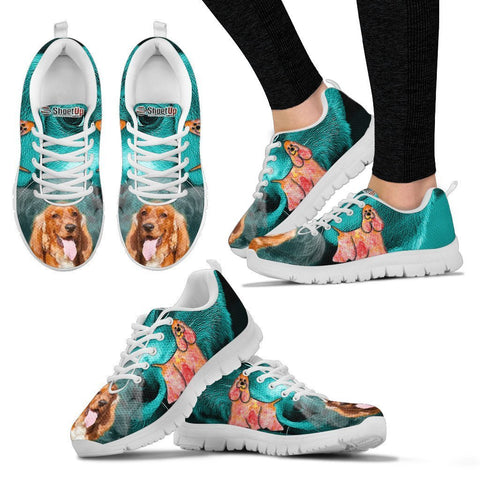Cocker Spaniel On Deep Skyblue Print Running Shoes For Women- Free Shipping