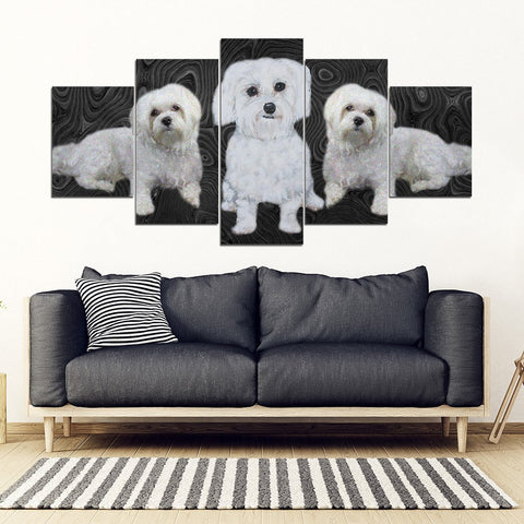 Maltese Dog Print-5 Piece Framed Canvas- Free Shipping
