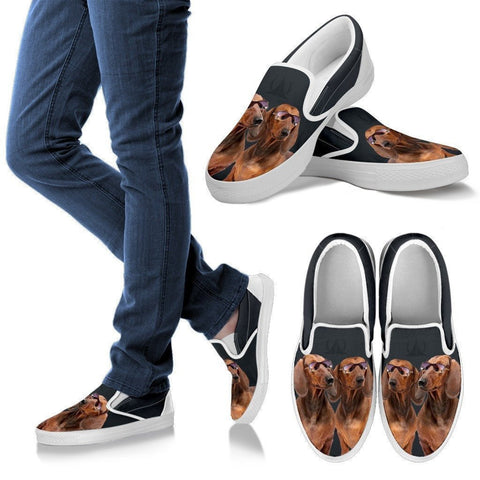 Dachshund Dog Print Slip Ons For Women-Express Shipping