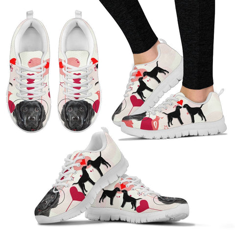 Valentine's Day Special Black Labrador Print Running Shoes For Women- Free Shipping
