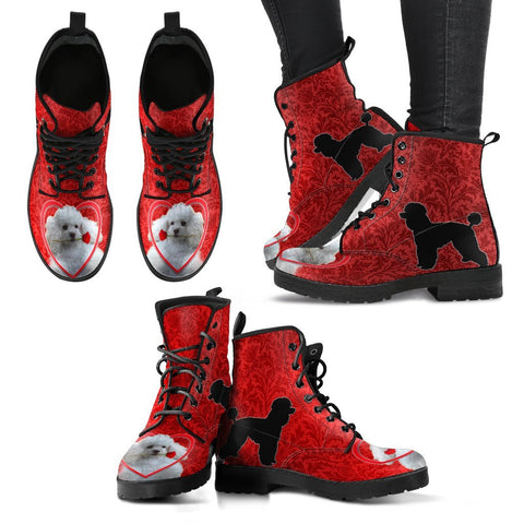 Valentine's Day Special Poodle On Red Print Boots For Women-Free Shipping