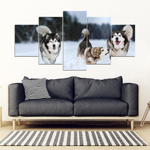 Siberian Husky Print- Piece Framed Canvas- Free Shipping
