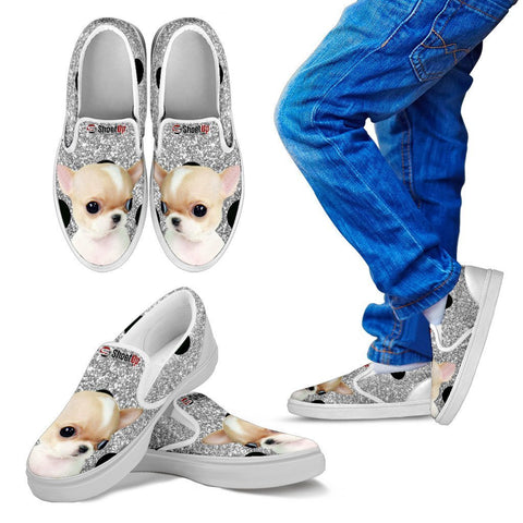 Chihuahua Dog Silver Print Slip Ons For Kids-Free Shipping