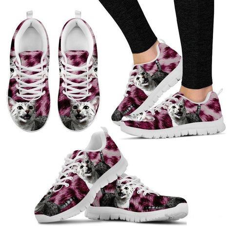 Egyptian Mau Cat Print (Black/White) Running Shoes For Women-Free Shipping