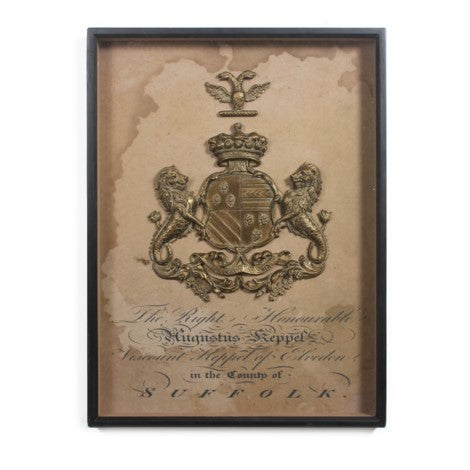 "Framed Wooden Plaque ""Suffolk"" Coat of Arms"