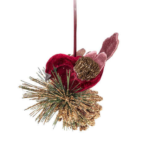 Bird on Pinecone Ornament