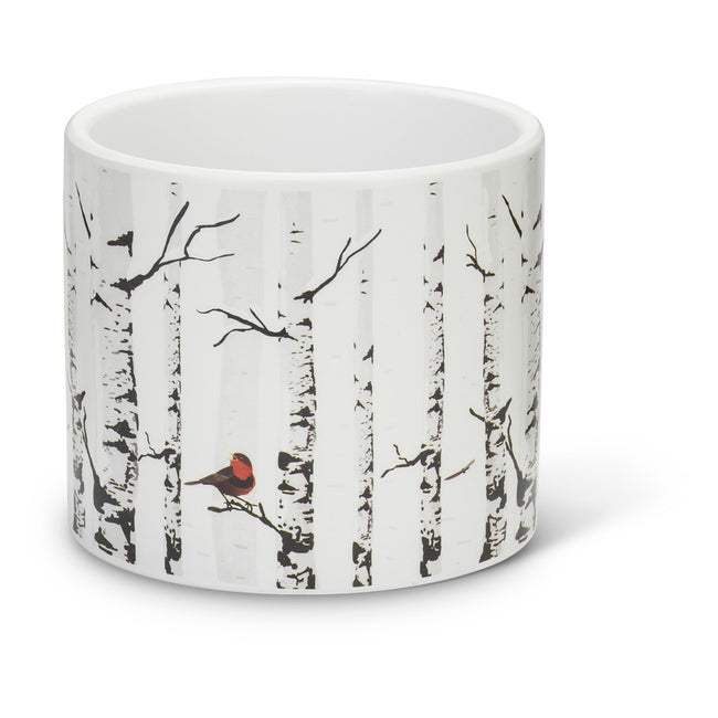 Planter Birch with Bird