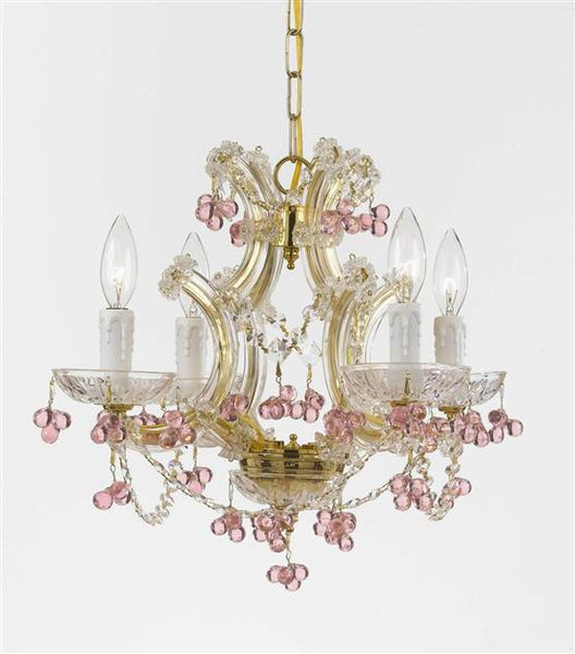 "Chandelier Maria Theresa ""Rosa"" with Murano Crystals"