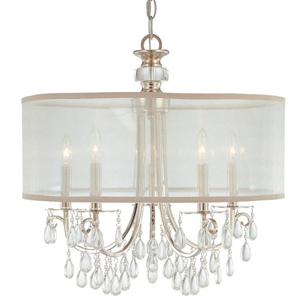 Chandelier, Chrome with Oyster Crystals, Silk Shade